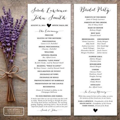 printable wedding program rustic  ellie collection