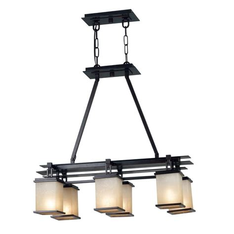 Kenroy Chandelier Hampton Bay Essex 3 Light Aged Black Island Pendant With