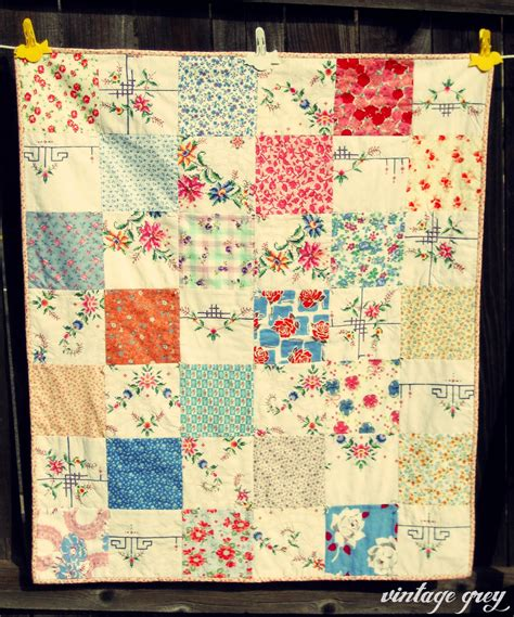 How To Make A Patchwork Quilt Out Of Baby Clothes - vintage grey a vintage patchwork quilt