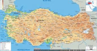 physical map of turkey ezilon maps