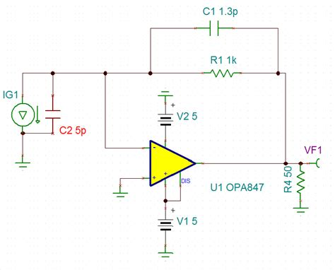 photodiode lifier capacitor tina spice opa847 some questions about the peak on frequency response of a based on opa847