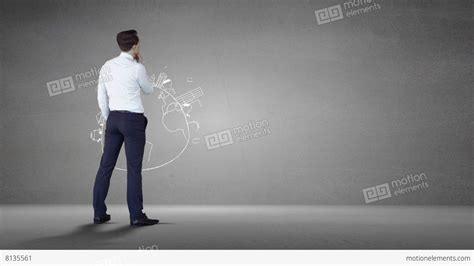 businessman   grey wall  brainstorm stock