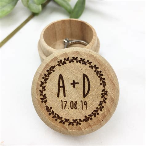 Wedding Ring Box Uk by Personalised Wooden Wedding Ring Box Hopwood Laser Design