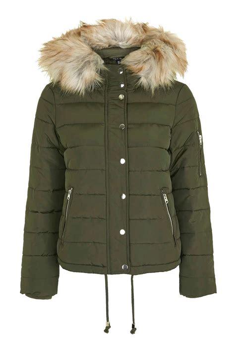 puffer jacket topshop puffer jacket in multicolor khaki lyst
