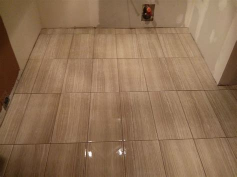 Large Format Porcelain Tile Floor in Basement