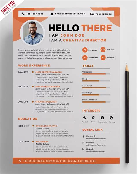Creative Resume Cv Psd Template Cmyk Print Ready by Creative Resume Cv Psd Template Cmyk Print Ready