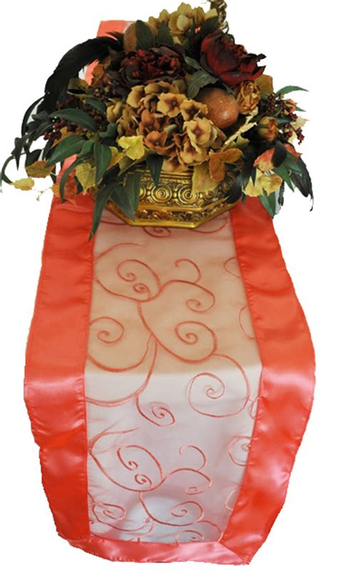coral organza table runners coral swirl embroidered organza table runners