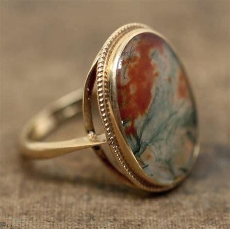 Pippin Vintage Jewelry by 9k Birmingham Moss Agate Ring Pippin Vintage Jewelry