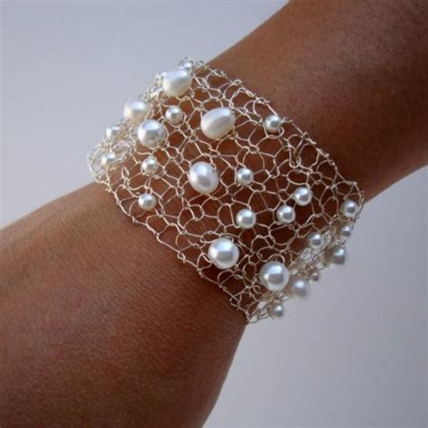 Bridal Wire by Pearl Bridal Bracelet White Pearl Silver Wire Mesh