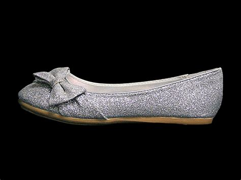 Flat Shoes Gliter silver glitter childrens flat shoes w bow