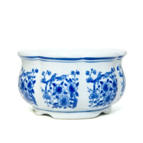 cobalt blue amp white floral ceramic planter dining room