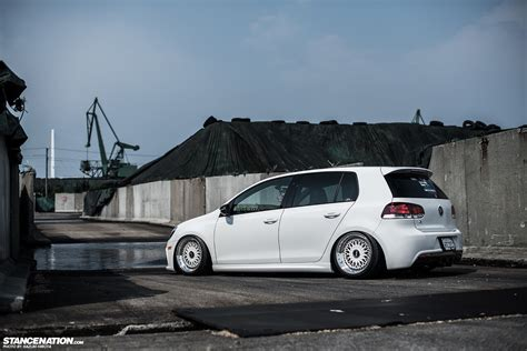 stanced volkswagen in white yasunobu s usdm style vw golf
