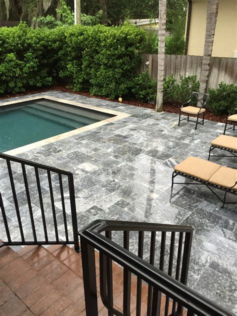 pool deck pavers french pattern roman blend tumbled travertine paver
