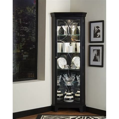 Pulaski Oxford Black Corner Curio Cabinet 21220 Black Corner Cabinet For Kitchen
