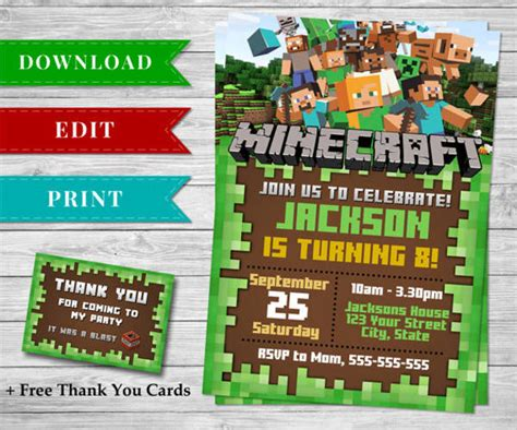 81 Birthday Invitations Free Premium Templates Free Printable Minecraft Birthday Invitations Templates