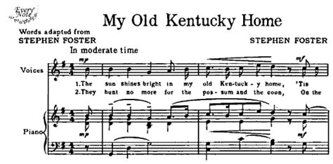 folk my kentucky home songs sheet