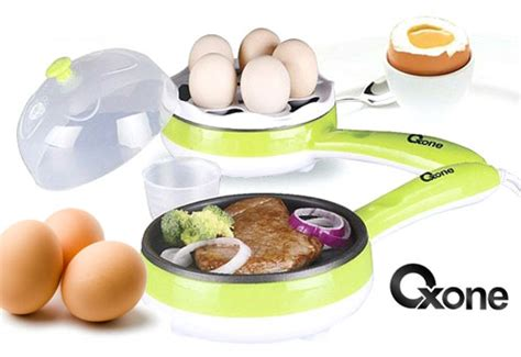 Oxone Ox 181fe Penggorengan Telur Alat Kukus Telur Steamer Telur New jual oxone 2in1 frypan egg steamer ox 181fe murah