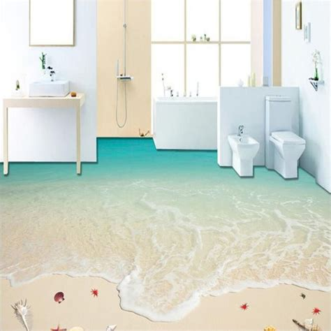 living room bathroom customized any size floor wallpaper 3d beach surf mural