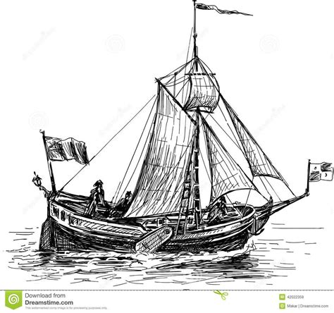 small boat sketch sketch of the sailing boat stock vector image 42022359