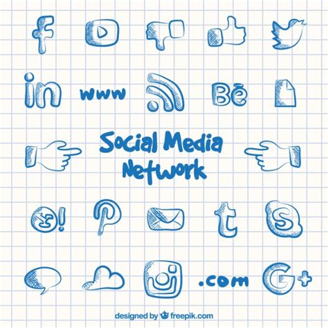 doodle 4 email address social media network icons in doodle style vector free