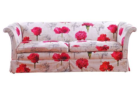 floral couches upholstered floral sofa with bright pink flowers on a