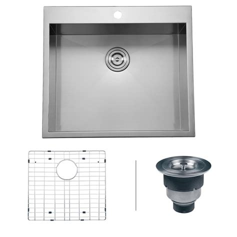 16 stainless steel drop in kitchen sink ruvati drop in stainless steel 25 in 16 square top