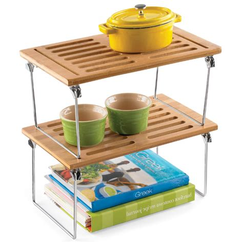 small bamboo stacking shelf the container store