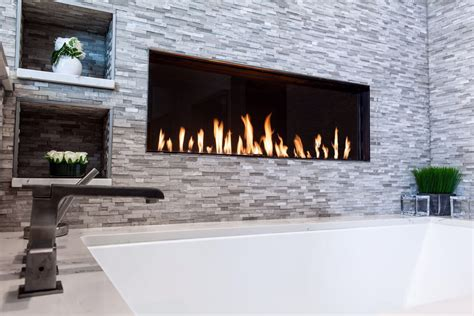 Flare Front Modern Frameless Fireplace   Linear Fireplace