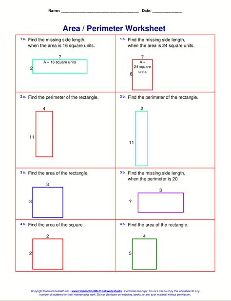 area printable sheets area and perimeter worksheets rectangles and squares