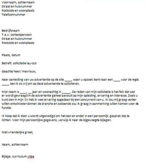 email layout nederlands sollicitatiebrief layout