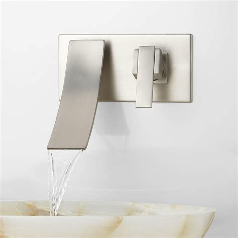 wall mounted faucet bathroom reston wall mount waterfall bathroom faucet bathroom