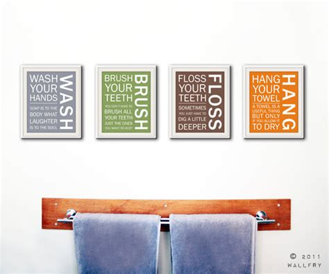 wall art printable set bathroom sayings wash brush floss bathroom art prints bathroom rules kids bathroom wall by