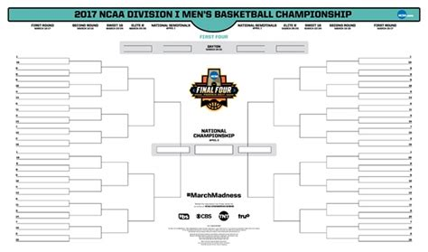 playoff challenge espn march madness 2017 printable ncaa tournament bracket