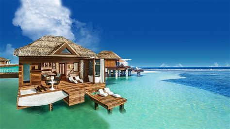 overwater bungalow sandals south coast opens booking on overwater bungalows