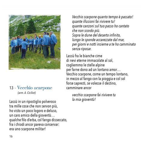 vecchio scarpone testo cantamonti nuovo cd coro cai di vittorio veneto
