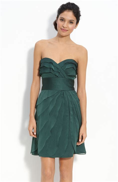 Dress Of The Day Tiered Dress by Papell Tiered Iridescent Chiffon Dress In Green
