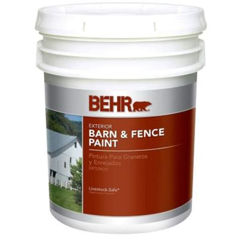 behr 5 gal white exterior barn and fence paint 3505 the home depot