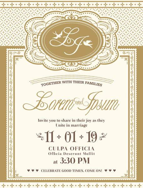 Wedding Card Eps by Vintage Wedding Invitation Cards Vectors Free Vector In