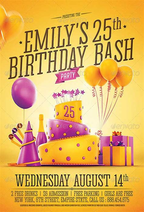 ffflyer birthday party invitation flyer template