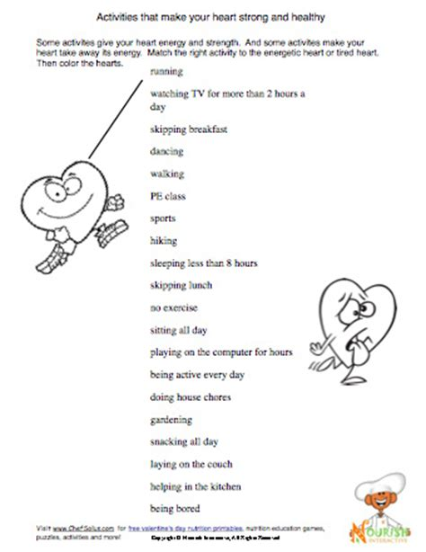 Health Worksheets by Health Worksheet For Being Active Some
