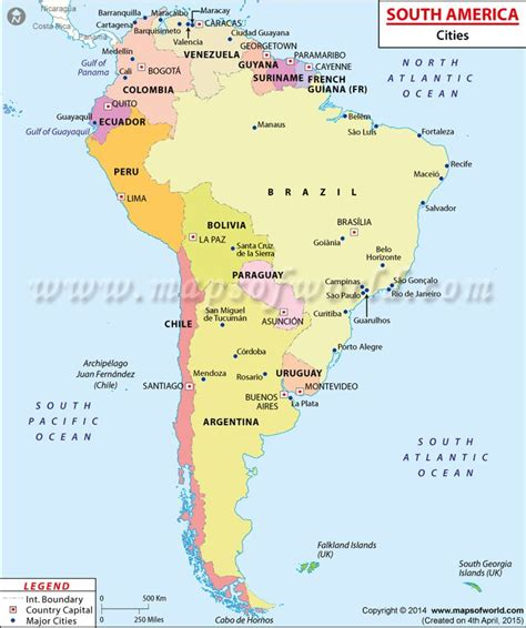 map of south america with cities map showing major cities in southamerica maps globes