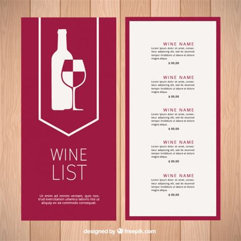 wine list template modern wine list template vector free