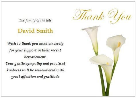 template for thank you card after funeral 16 best funeral thank you card images on