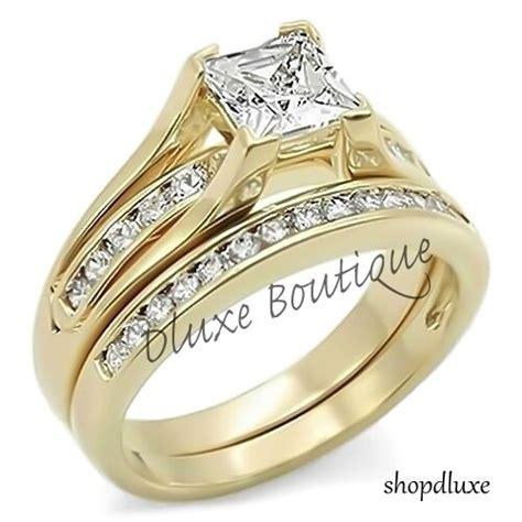2 10 ct princess cut aaa cz 14k gold plated wedding ring
