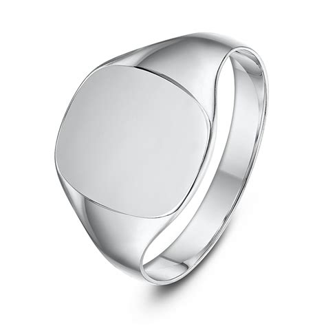 sterling silver cushion shape signet ring ladie s