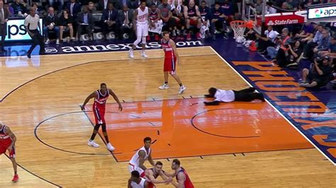 Mba Co by Suns Mascot Dives Onto Court To Retrieve Object