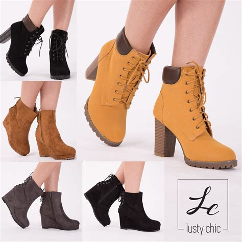 Wedges T 1 3 8 Hitam Limited womens wedge heel combat ankle boots lace up block heel shoes size uk 3 8 ebay