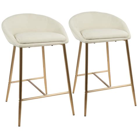 Gold Swivel Bar Stool by Lumisource Matisse 26 In Gold And Fabric