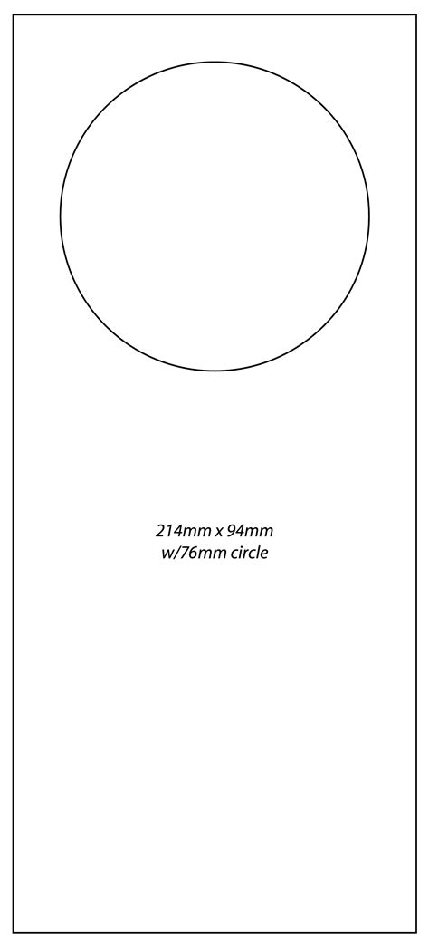door knob template door templates door hanger pattern use the printable