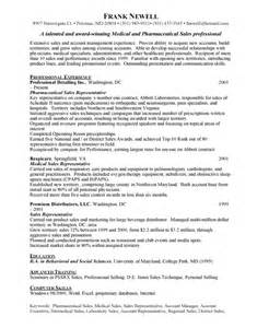 Pharmaceutical Sales Resume Exle by Pharmaceutical Sales Resume Exles